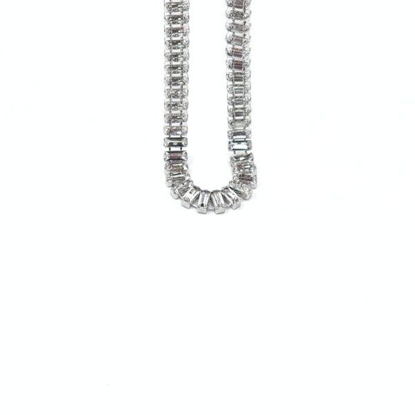 Κολιέ κοντό ασημί με διάφανες πέτρες και δαχτυλίδι