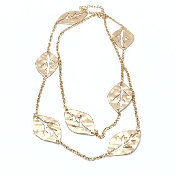 Κολιέ μακρύ χρυσό φύλλα