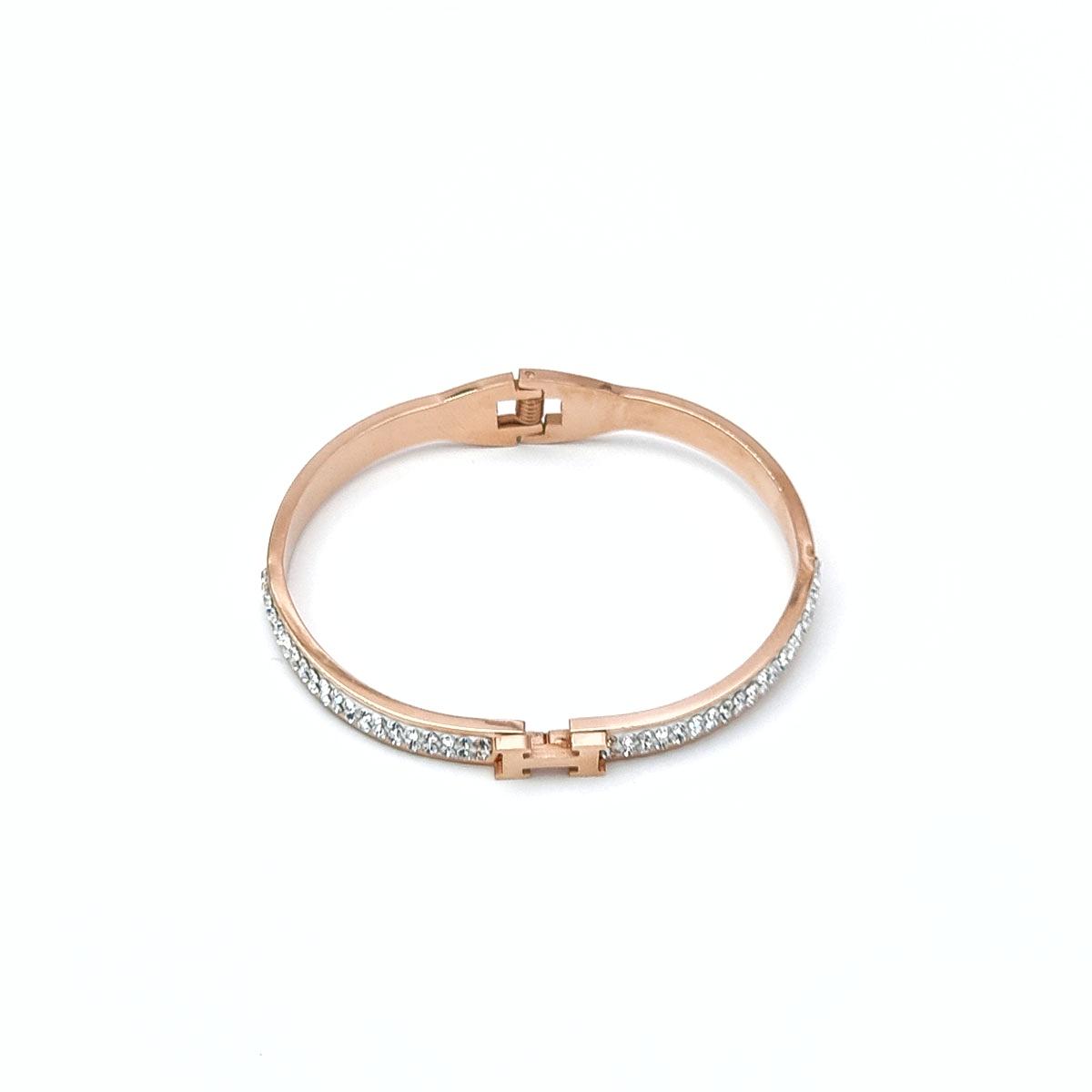 Χειροπέδα ροζ χρυσό strass Η