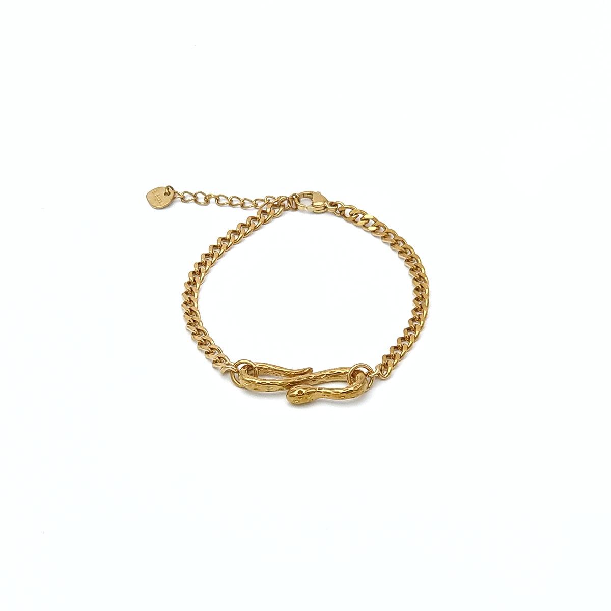 Βραχιόλι χρυσό αλυσίδα με φίδι
