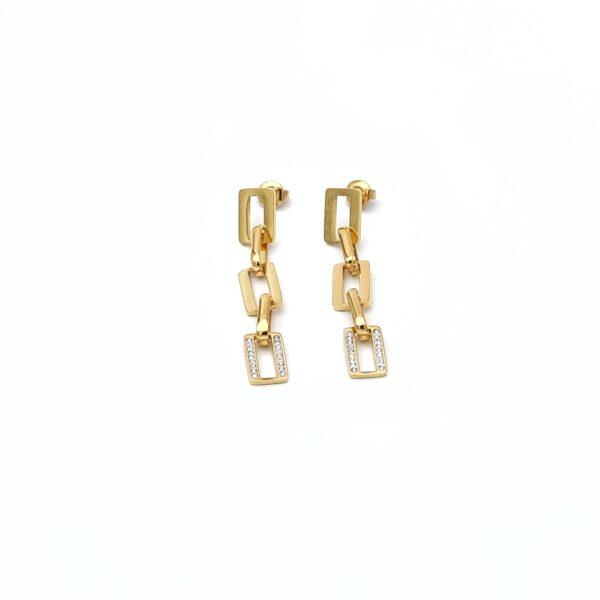 Σκουλαρίκια χρυσά αλυσίδα και strass
