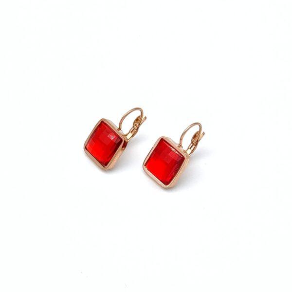 Σκουλαρίκια ατσάλι χρυσά πέτρες