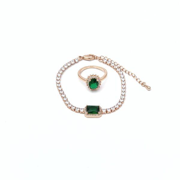 Σετ χαλκός ροζ χρυσό βραχιόλι strass πράσινη πέτρα και δαχτυλίδι