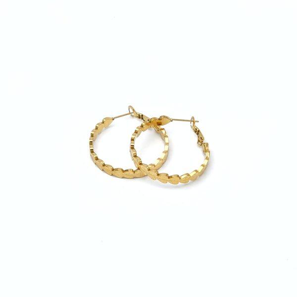 Σκουλαρίκια χρυσοί κρίκοι καρδιές