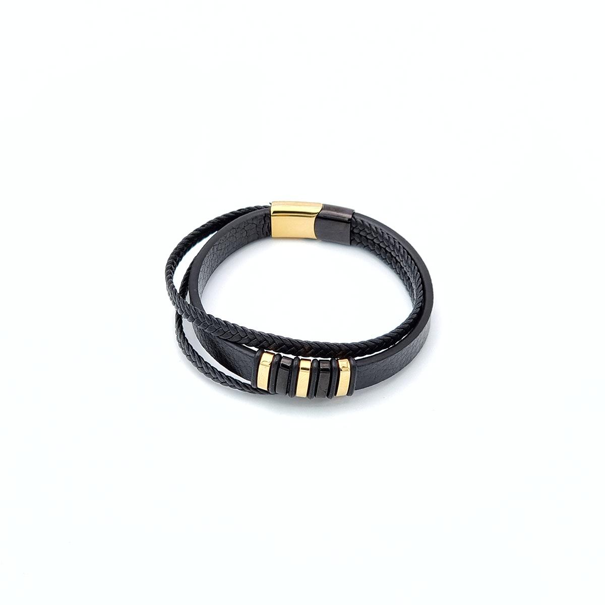 Βραχιόλι δέρμα και ατσάλι χρυσό με μαύρο