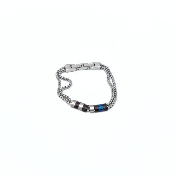 Βραχιόλια ασημί δίσειρα 2τεμ άγκυρα+μπλε
